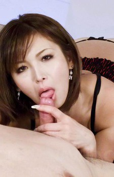 Mai Kuroki Asian with nude hooters licks and sucks hard stiffy
