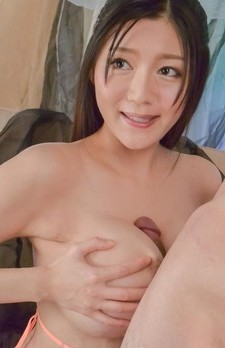 Miho Ichiki Asian sucks dicks and rubs them with big hooters
