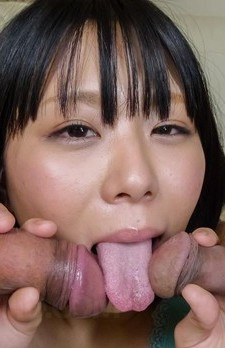 Mikan Kururugi Asian licks two cocks while getting vibrators