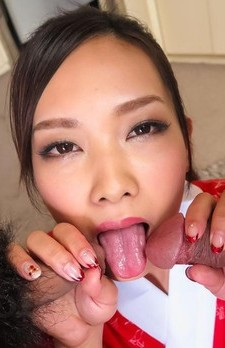Saki Fujii Asian in kimono gets cum from sucking and riding cocks