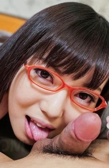 Chiemi Yada Asian with glasses licks balls and dick and gets cum