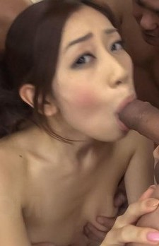 Kaori Maeda Asian with nasty tits sucks and rubs two joysticks