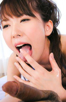 Ramu Nagatsuki Asian in blue bath suit takes dick in her mouth