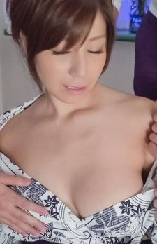 Chihiro Akino Asian with playful jugs gets cum from two boners