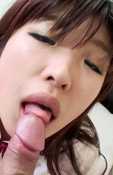Ai Okada Asian in uniform sucks boner and licks boys in basement
