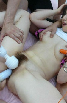 Ryo Kaede Asian gets many vibrators on hairy cunt and nipples