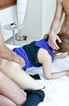 Ayaka Mizuhara Asian in blue top gets dicks in mouth and slit