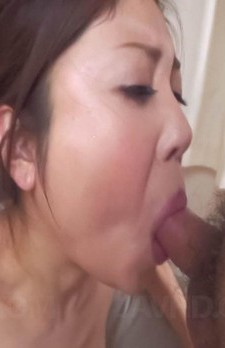 Mafuyu Hanasaki Asian licks and sucks dick to get cum in palm