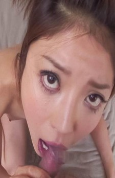 Mafuyu Hanasaki Asian sucks and licks dick till gets cum in palm