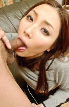 Nozomi Mashiro Asian sucks balls and rubs dick between her labia