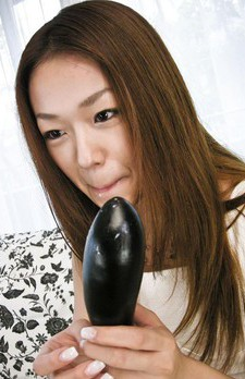 Sakura Hirota Asian gets cum in mouth after licking black dildo