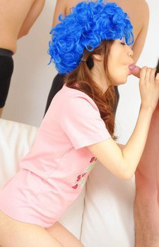 Shirosaki Karin Asian with blue wig sucks and licks hard penis