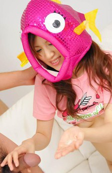 Shirosaki Karin Asian with silly outfits on head sucks phallus
