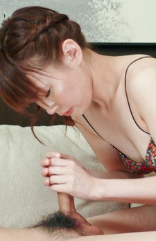 Kana Mimura Asian makes dick hard with her feet and juicy boobs