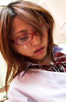 Rino Mizusawa Asian gets sperm on specs after giving blowjob