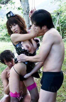 Asuka Ishihara Asian has hairy cunt licked and screwed by men