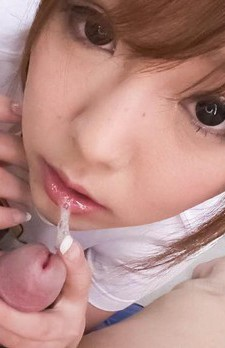 Miku Airi Asian doll licks hard phallus pouring saliva on it