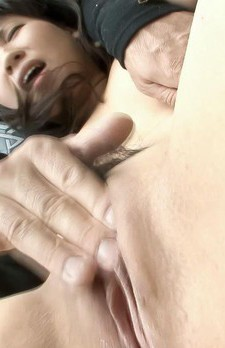Emiri Takeuchi Asian has nipples squeezed and clit rubbed outdoor