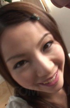 Rika Koizumi Asian smiles after getting sperm in her mouth