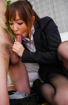 Mami Asakura Asian fondles her jugs while rubbing dong with labia