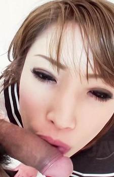 Aya Sakuraba Asian with pink nipples licks and sucks hard woody