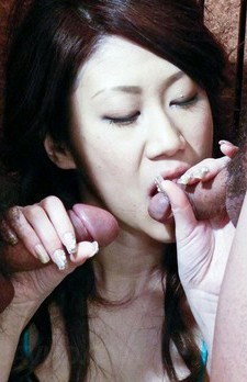 Huuka Takanashi Asian with big boobs gets cum from two shlongs