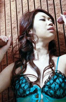 Huuka Takanashi Asian gets cum on face after sucking two boners