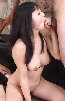 Nozomi Hatsuki Asian gets clit pleasured while she sucks woody